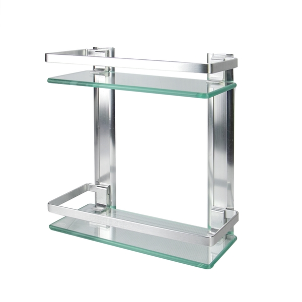 Tempered Glass Shelf with Aluminium Rail | M&W 2 Tier