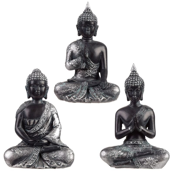 Meditation Black & Silver Thai Buddha (1 Random Supplied)