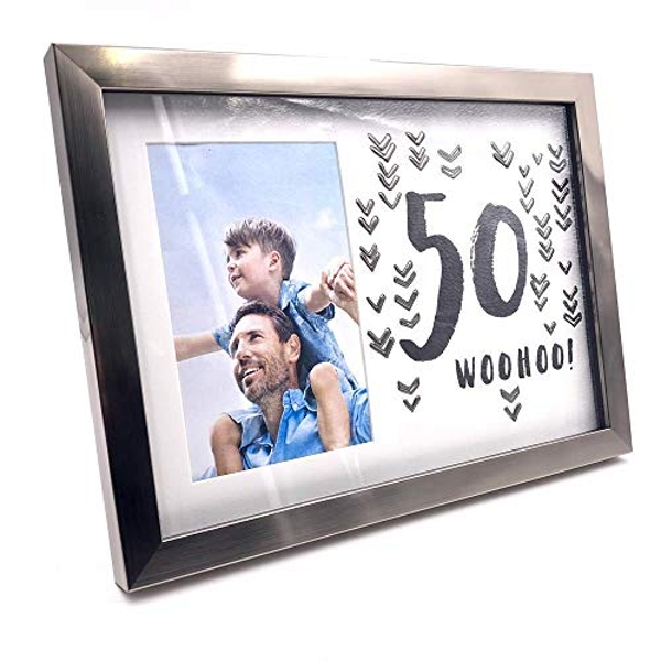 "4"" x 6"" - Luxe Male Gunmetal Birthday Frame - 50"