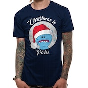 Rick And Morty - Christmas Is Pain Men's Large T-shirt - Blue