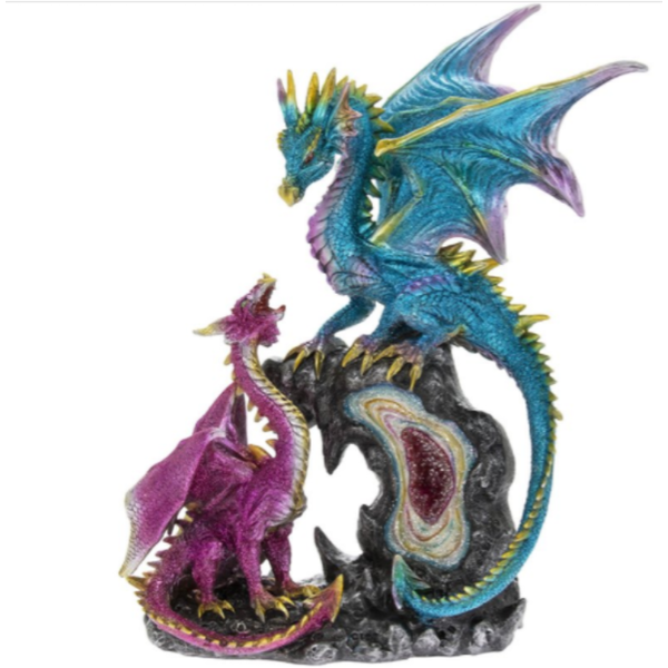 Dragons Pink & Blue Led Figurine By Lesser & Pavey