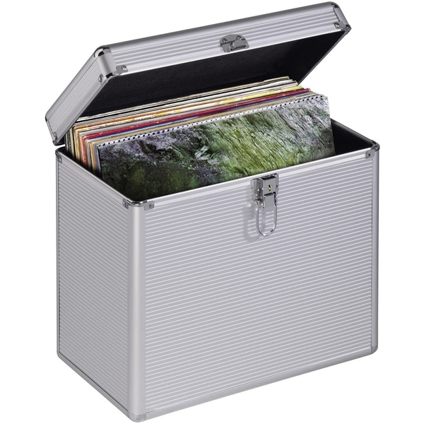 Hama 50 Vinyl Records LP Case Aluminium Look Silver