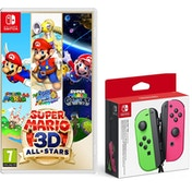 Super Mario 3D All Stars Nintendo Switch Game +  Joy-Con Controller Pair (Neon Green/Neon Pink)