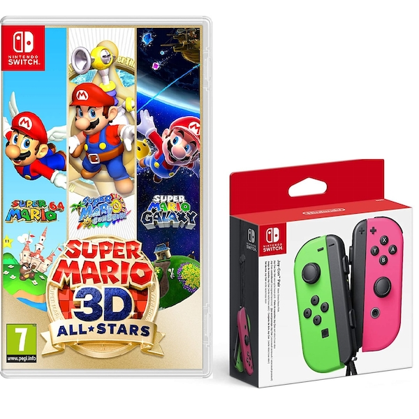 Super Mario 3D All Stars Nintendo Switch Game +  Joy-Con Controller Pair (Neon Green/Neon Pink) - Image 1