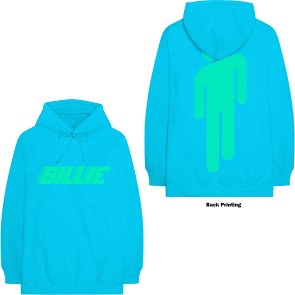 Billie Eilish - Logo & Blohsh Unisex X-Large Hoodie - Blue
