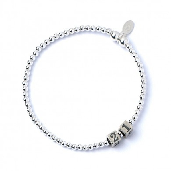 21 Number Cubes with Sterling Silver Ball Bead Bracelet