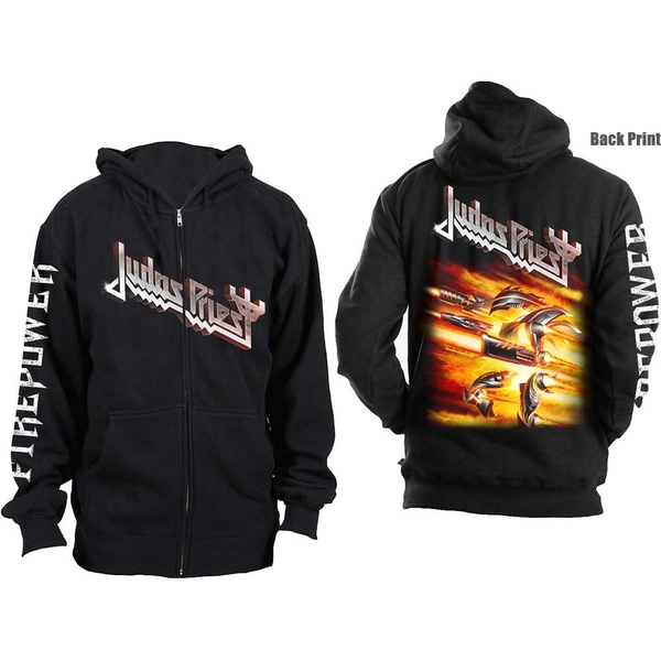 Judas Priest - Firepower Unisex Medium Zipped Hoodie - Black