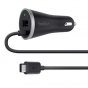 Belkin USB-C 15 W Car Charger with USB-A Pass Through Cable (USB-IF Certified), Black