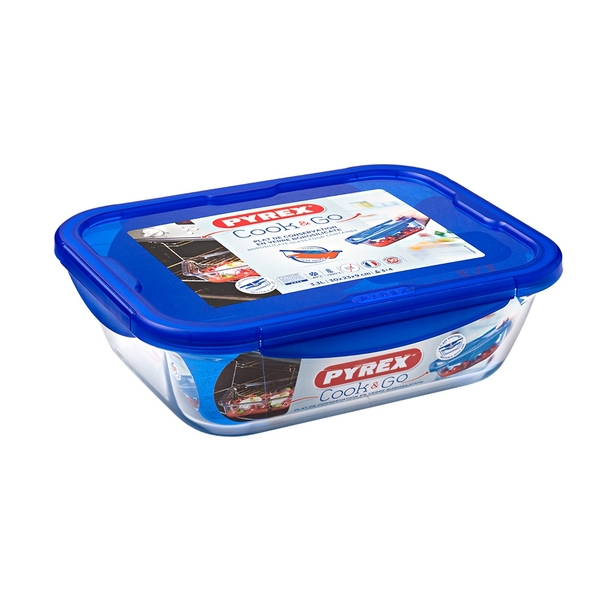 Pyrex Cook & Go Glass Rectangular Dish with Lid 25x19cm