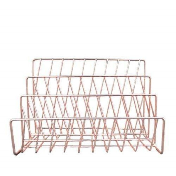 Wire Letter Rack Rose Gold Electroplated 26cm