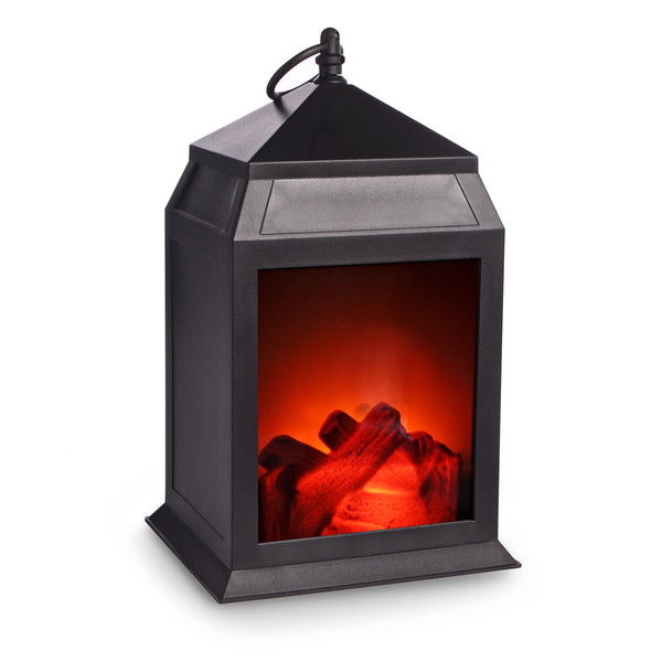 Mini LED Fireplace Lantern Matte Black