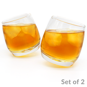 Set of 2 Rocking Whiskey Glasses | Swirling Whisky Tumblers Bar Gift Set | M&W