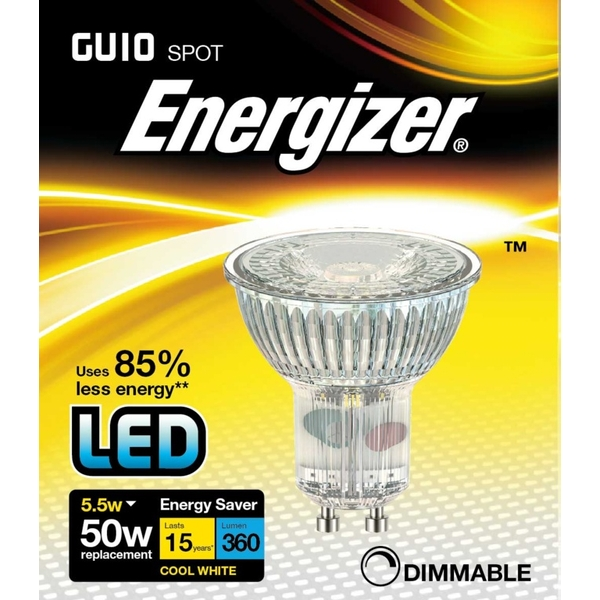 "Energizer LED GU10 350lm Cool White Dimm 36"" 5.5w"
