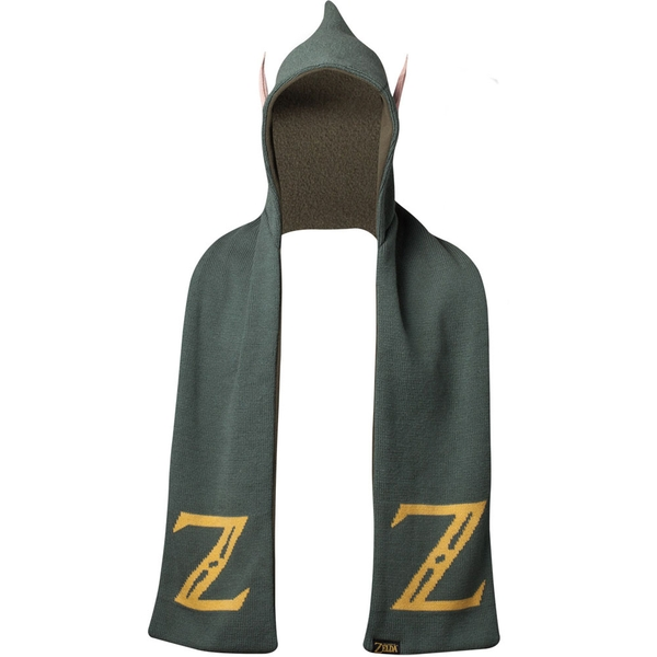 Nintendo - Legend of Zelda Logo Hooded Knitted Fashion Scarf with Ears