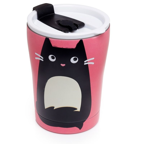 Feline Fine Cat Reusable Stainless Hot & Cold Thermal Insulated Food & Drink Cup 300ml