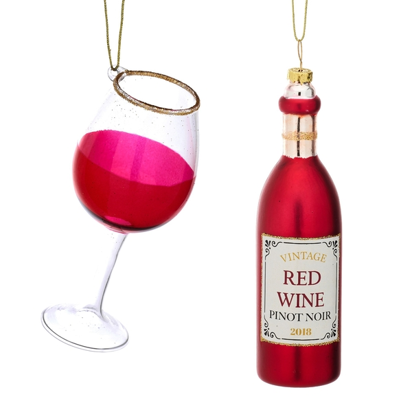 Sass & Belle (Set of 2) Christmas Cheer Red Wine and Glass Shaped Bauble