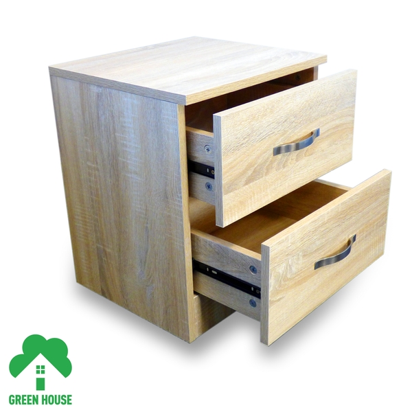 2 Chest Of Drawers Oak Bedside Cabinet Dressing Table Bedroom Furniture Wooden Green House - Image 3
