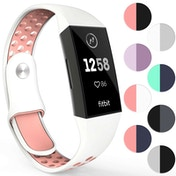 YouSave Silicone Sports Straps - Large - White & Pink compatible with FitBit Charge 3