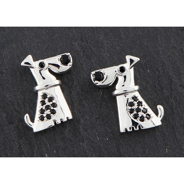 Modern Dog Silver Plated Earrings