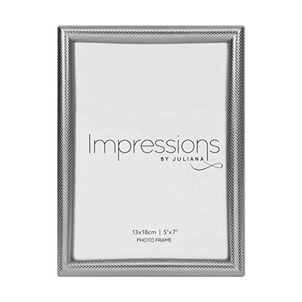 """5"""" x 7"""" - Impressions Textured Silver Finish Photo Frame"""