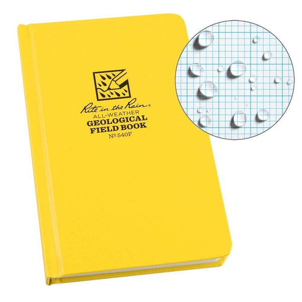 Rite in the Rain Geological Notebook Side Hard Bound - Yellow, 4.75 x 7.5 x .5 inches