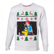 Pokemon Mens Ash & Pikachu Small Christmas Jumper
