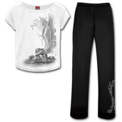 Enslaved Angel Women's Small 4Pc Gothic Pyjama Set  - Black