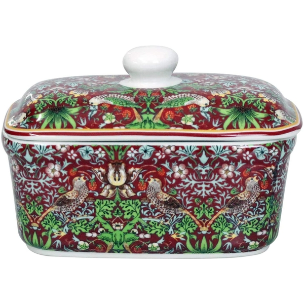 William Morris Strawberry Thief Red Butter Dish By Lesser & Pavey