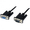 1m Black DB9 RS232 Serial Null Modem Cable F/M
