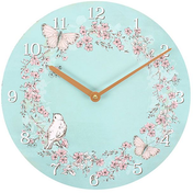 Rustic Romance Bird and Butterflies Wall Clock