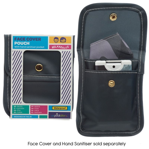 Grey Face Covering & Hand Sanitiser Pouch