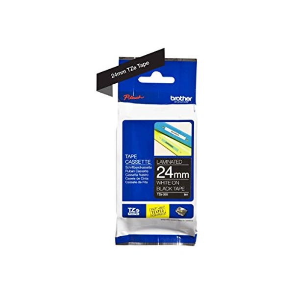 Brother TZe-355 Labelling Tape Cassette, White on Black, 24 mm (W) x 8M (L), Laminated, Brother Genuine Supplies