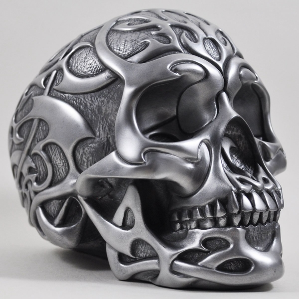 Celtic Tribal Silver Skull 19cm