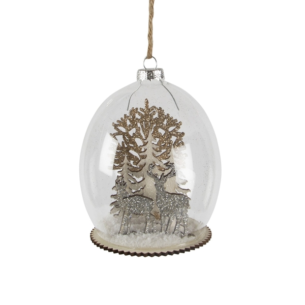 Sass & Belle Luxe Forest Stag Dome Bauble