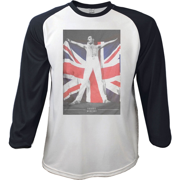 Freddie Mercury - Flag Men's Large Raglan T-Shirt - Black & White