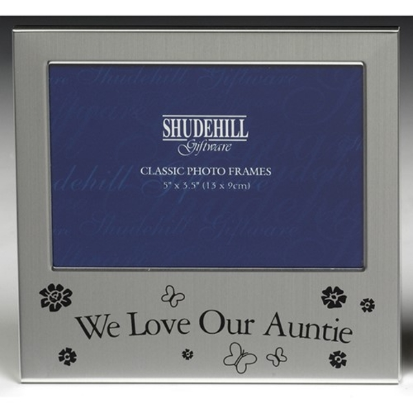 Satin Silver Occasion Frame We Love Our Auntie 5x3