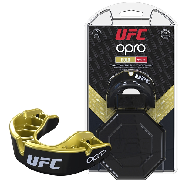 UFC Gold Mouthguard by Opro Red/Silver Adult