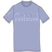 John Lennon Tee Shirt: Peace & Love Light Blue: XXL