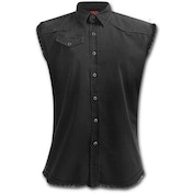 Urban Fashion Sleeveless Worker Shirt Women's Medium Sleeveless Top - Black