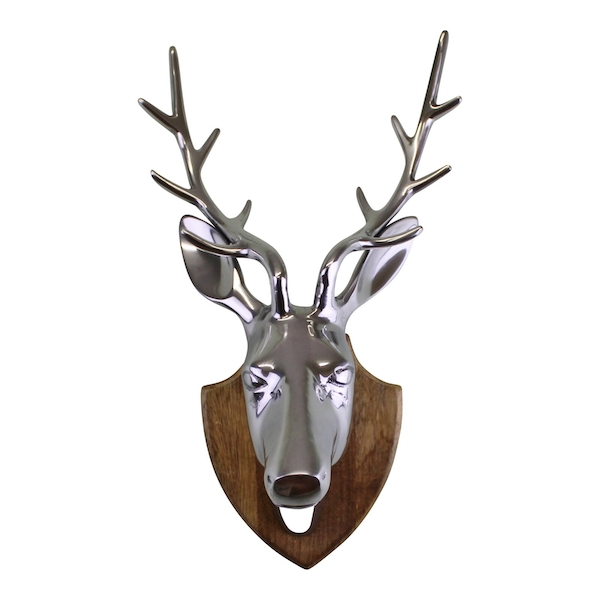 Silver Metal Stags Head On Wooden Mount, Wall Decor