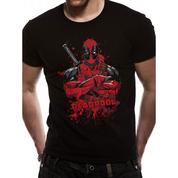 Deadpool - Pose Splash Men's X-Large T-Shirt- Black