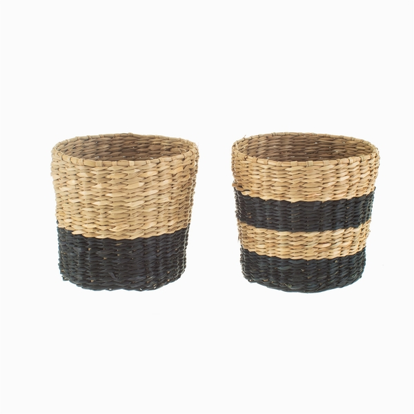 Sass & Belle (Set of 2) Mini Black Seagrass Planters