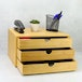 Bamboo Desktop 3 Drawer | M&W Wide Opening - Image 2