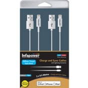 INFAPOWER Charge and Sync Cables with Lightning Connector Twin Pack