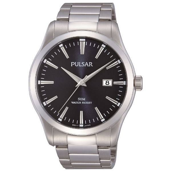 Pulsar PS9297X1 Mens Stainless Steel Bracelet  Black Dial 50M Watch