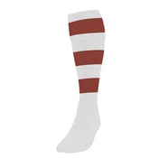 Precision Hooped Football Socks Large Boys White/Maroon