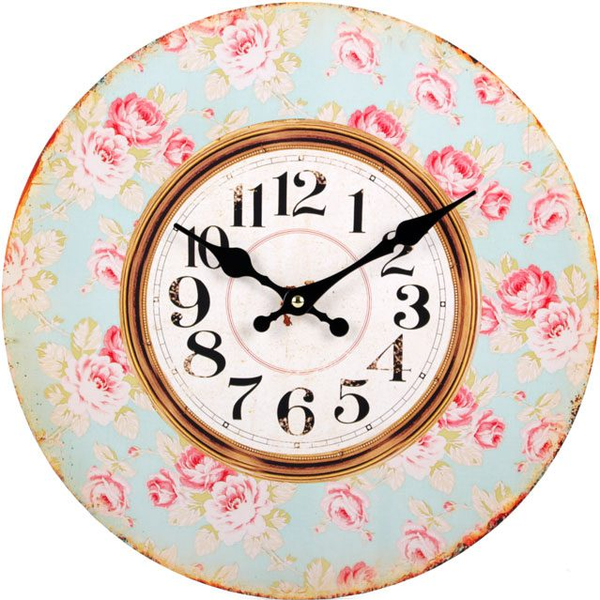 Pink Rose Pattern with Blue Background Wall Clock