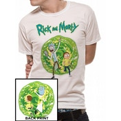 Rick And Morty - Portal Back Print Men's X-Large T-Shirt - White