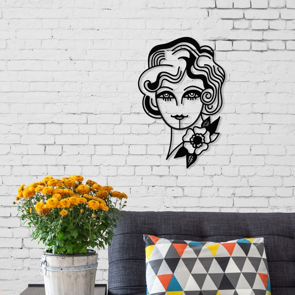 Woman in Flowers Black Decorative Metal Wall Accessory