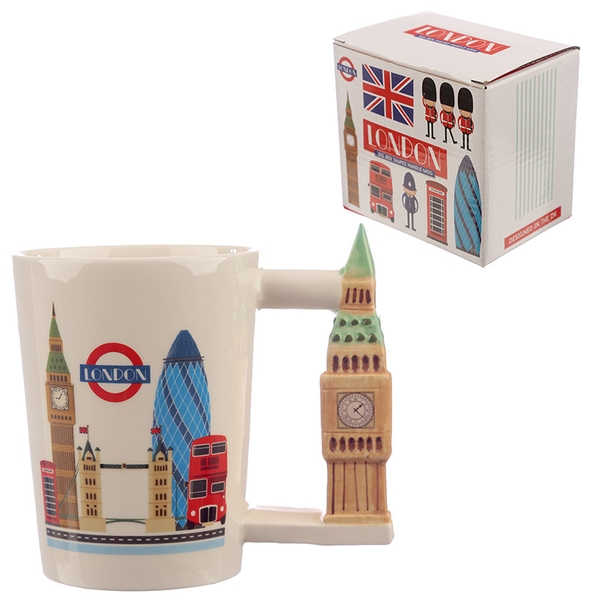 Collectable Big Ben Shaped Handle Ceramic Mug